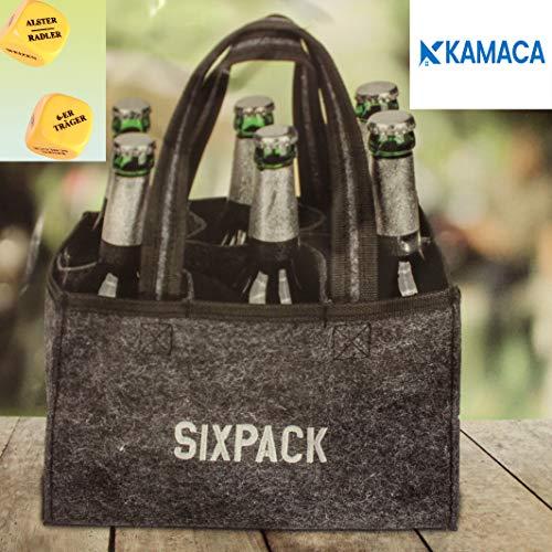 Kamaca Flaschentasche Sixpack für 6 Bierflaschen Flaschenträger Flaschenkorb aus Filz inklusive lustigem BIERWÜRFEL Partyspiel Trinkspiel (Sixpack + Bierwürfel Partyspiel)