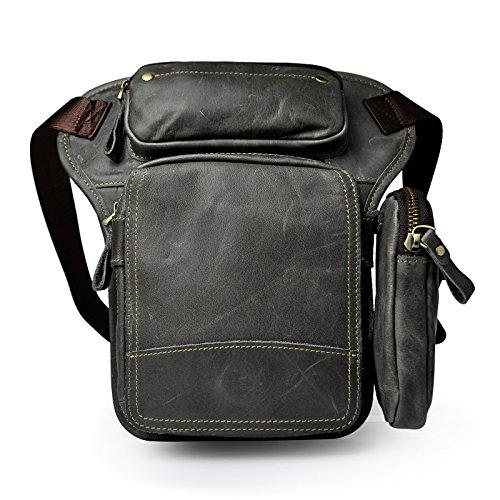 Le'aokuu Herren Echtes Leder Tasche Schultertasche Gürteltasche Beinbeutel Beintasche Hüfttasche Drop Leg Thigh Bag Angeln Outdoors Messenger Bag 3108 (Grau 2)