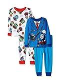 Thomas The Train & Friends Boys 4 piece Pajamas Set (2T, Costume Blue/White)