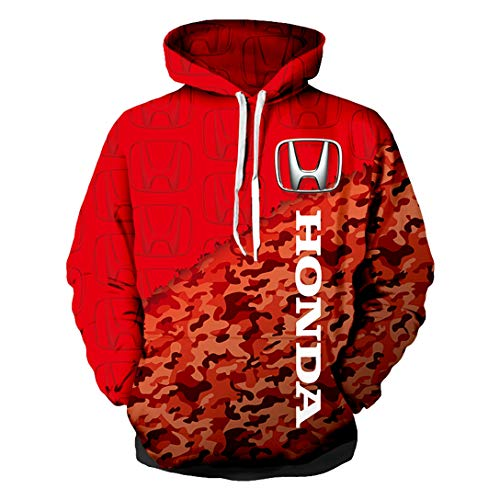 Cronell Story Unisex Spring Langarm Hoodie 3D Digital International Honda Logo Print Sweatshirt Lässiges Sweatshirt (1,M)