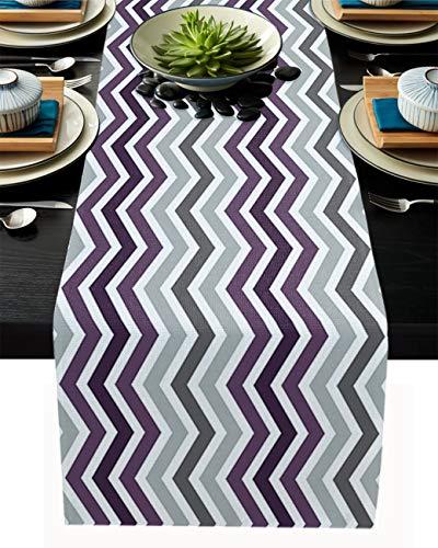 FAMILYDECOR Camino de mesa de arpillera de lino para mesas de comedor de 33 x 274 cm, ondas simples gris y morado para fiestas de vacaciones, cocina, decoración de boda