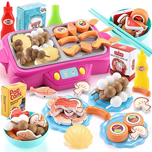 LBWNB Griller Kinder Tischgriller Küchenspielzeug Kinderküche Zubehoer, Gemüse, Küchengeschirr Kinder Kochgeschirr Spielzeug 3 Jahren Für Mädchen (54PCS)