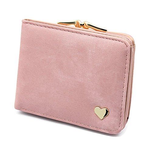Damen Kleine Herz Dekoration Geldbörse Portemonnaie kurzer Kleine Geldbeutel Große Kapazität Wallets (Rosa)