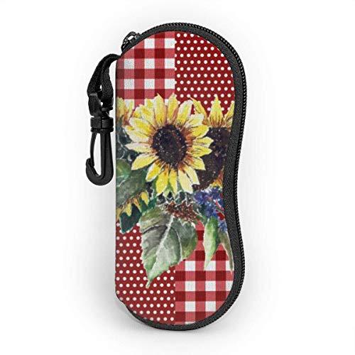 OKIJH Glasses Case with Carabiner,Sunflower Bouquet On Red Gingham Pattern Ultra Light Portable Neoprene Zipper Sunglasses Soft Case