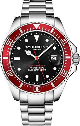 Stuhrling - Reloj de Buceo para Hombre, diseño de Buceo Deportivo con Corona de Rosca y...