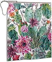 美しいサボテンパターンのシャワーカーテン、バスルームのカーテンの装飾のためのポリエステル防水ファブリックバスタブセットフック付き60 X72インチ-鉄-ワンサイズ
