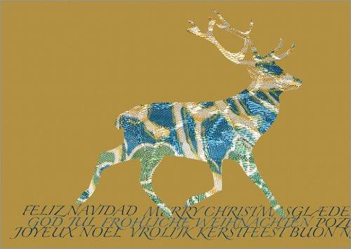 De bijzondere designer kerstkaart met hert silhouet • ook direct verzending met hun tekst inlegger • kerstwenskaarten set met envelop voor het feest van de liefde voor familie en vrienden