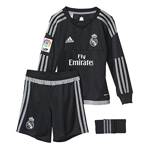 adidas Jungen Bekleidungsset Real Madrid Mini-Heimausrüstung Torwart T-shirt, Schwarz/Grau/Weiß, 92