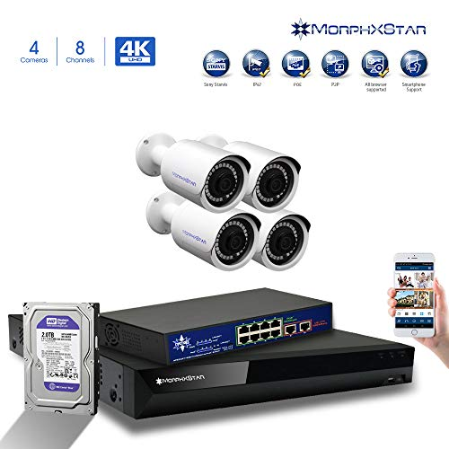 %12 OFF! MorphXStar 8CH 4K NVR Network IP Security Camera System - 4 x HD 2160P 6MP 2.8 mm; Wide Vie...