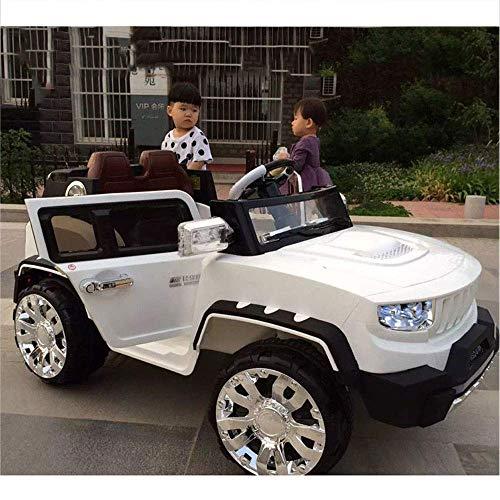 AUTOKS Kinder Elektroauto vierrädrigen Kinderwagen SUV Doppelantrieb Große Größe Offroad-Fernbedienung Auto Baby Spielzeug Elektroauto Kinderwagen Geburtstagsgeschenk Geschenk (Farbe: Weiß)