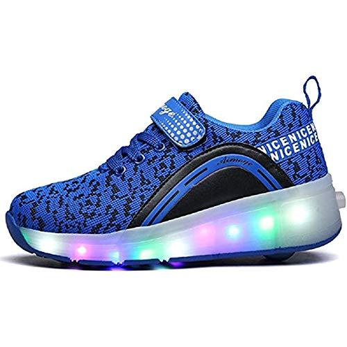 FR&RF Encendido LED de Rodillos Zapatos del patín de Ruedas de Adultos de los niños Zapatillas de Deporte con Las Zapatillas de Deporte de Rodillos Doble Ruedas niños Que Brillan,36