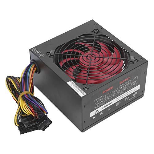 250 W Fuente de alimentación para computadora, ATX 20 + 4 pines Fuente de alimentación para PC Fuente de alimentación de escritorio con ventilador de silencio rojo Manual ajustable 115 / 230V(UE)