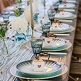 Belle Vous Kleine Geschenkboxen Weiß & Braun mit Herz (50 Stk) - 5,5 x 5,5 x 5,5cm Geschenk Schachtel Box aus Karton Kraftpapier Pappschachteln für Süßwaren, Gastgeschenke, Hochzeit, Party, Geburtstag - 5