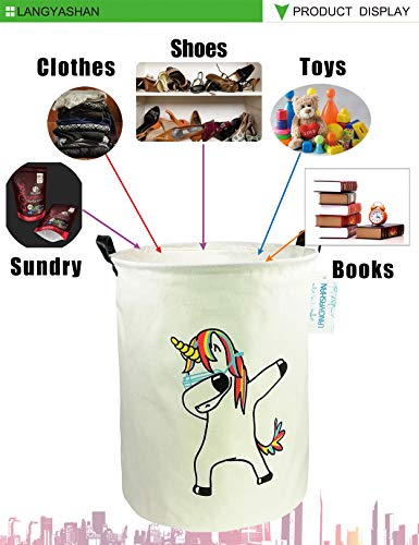 LANGYASHAN Storage Bin,Canvas Fabric Collapsible Organizer Basket for Laundry Hamper,Toy Bins,Gift Baskets, Bedroom, Clothes,Baby Nursery(Danceing Unicorn)