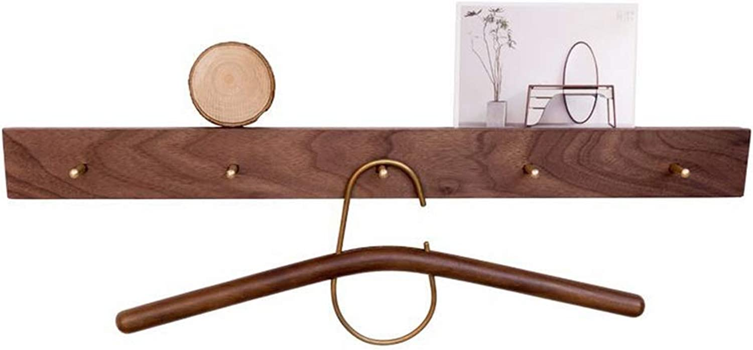 Qi_Hallway Furniture Coat Rack, Solid Wood Wall Coat Rack Brass Coat Hook Nordic Wood Hanger Door Rear Storage Rack Standing Coat Racks
