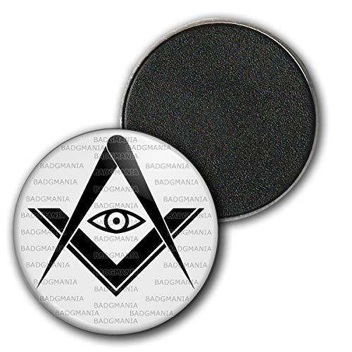 Badgmania Magnet Aimant Frigo 3.8cm Compas Equerre Francs-Maçons Symbole Maçonnique Noir Fond Blanc