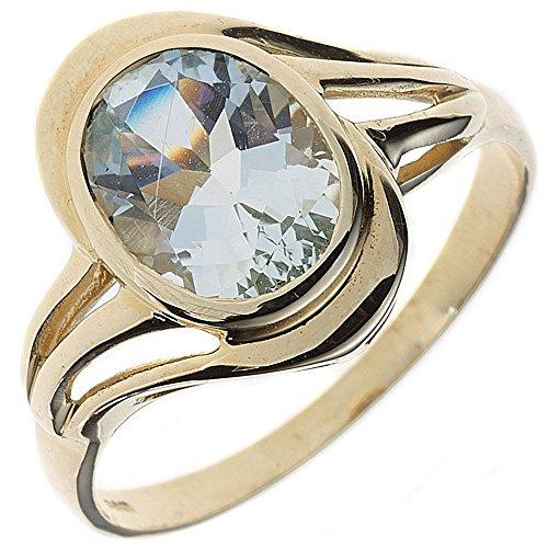 JOBO Damen Ring 585 Gold Gelbgold 1 Aquamarin Goldring Größe 60 [Schmuck]