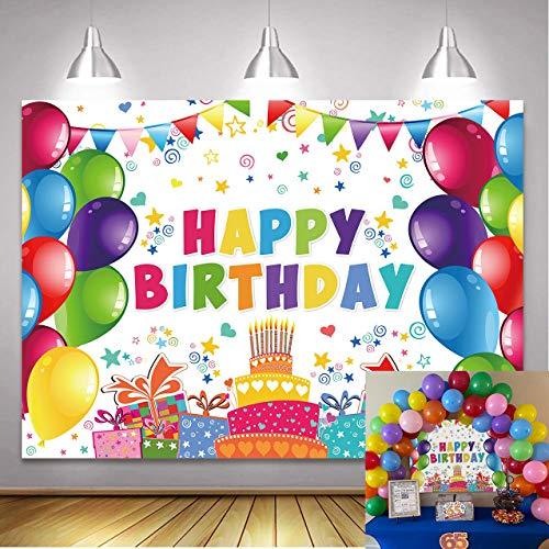 BINQOO 2,1 x 1,5 m coloré Toile de Fond d'anniversaire pour Enfants pour Enfants Nouveau-né bébé Douche Joyeux Anniversaire Fond Ballons Barre de Bonbons Cadeaux fête de célébration