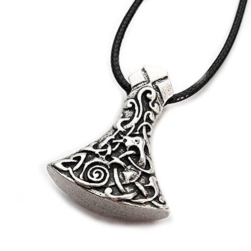 Miss - E - Jewels TM Antik-Silber verzierte Mammen-Axt-Halskette für Damen und Herren, Wikinger, Norse, Sekira, Nordischer Talisman Rune 22