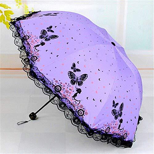 XINGWENXUE Butterfly Love Flower Umbrella 30% sombrilla de protección UV Paraguas de Doble Uso Paraguas de plástico Negro Protector Solar Paraguas