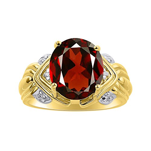 Juego de anillos de diamante y granate en oro amarillo de 14 quilates – 12 x 10 mm piedra de color anillo de nacimiento