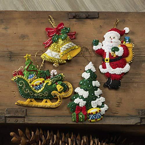 Bucilla Santa's Grand Sleigh Felt Applique Ornament Kit