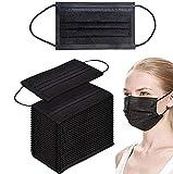 Einweg-Gesichtsmasken/Mundschutz - Atmungsaktiv geprüfte Qualität (50, Schwarz)