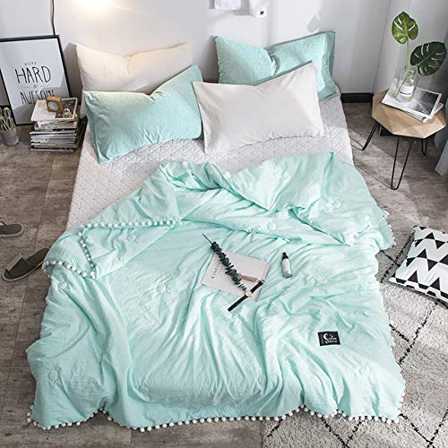 ZGSCYRB Summer Gray Air Condition Quilts Duvet With Little White Pompons Bed Linens Washed Cotton Throw Blankets Solid Bedding