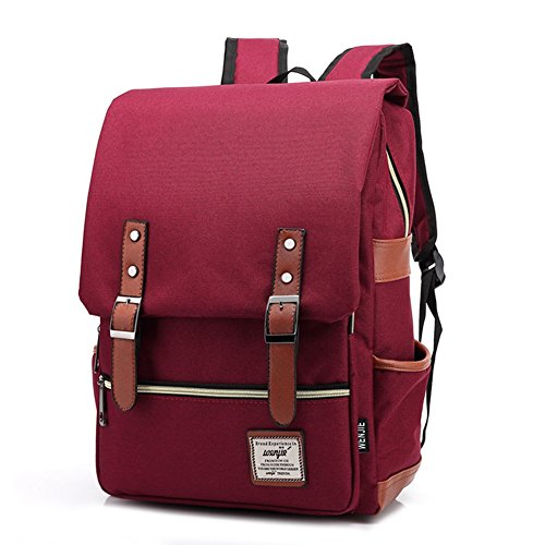TININNA Unisex Vintage Canvas Backpack Satchel Rucksack Daypack Shoulder School Bag Schoolbag for Women Ladies Girls Wine Red