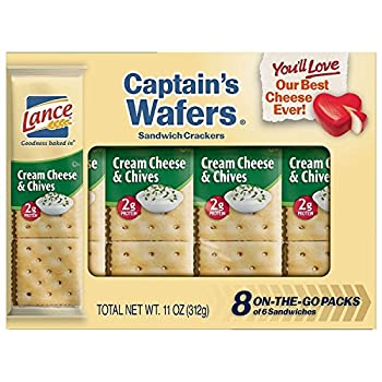 Lance Sandwich Crackers Captain s Wafers Cream Cheese and Chives 8 Ct Box