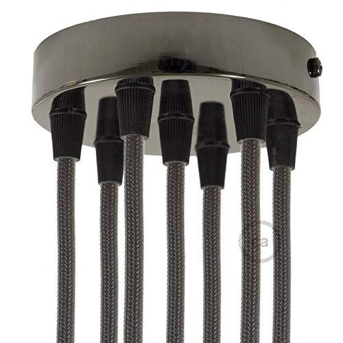 creative cables Kit Rosace métallique cylindrique à 7 Trous - Conique, Perle Noire