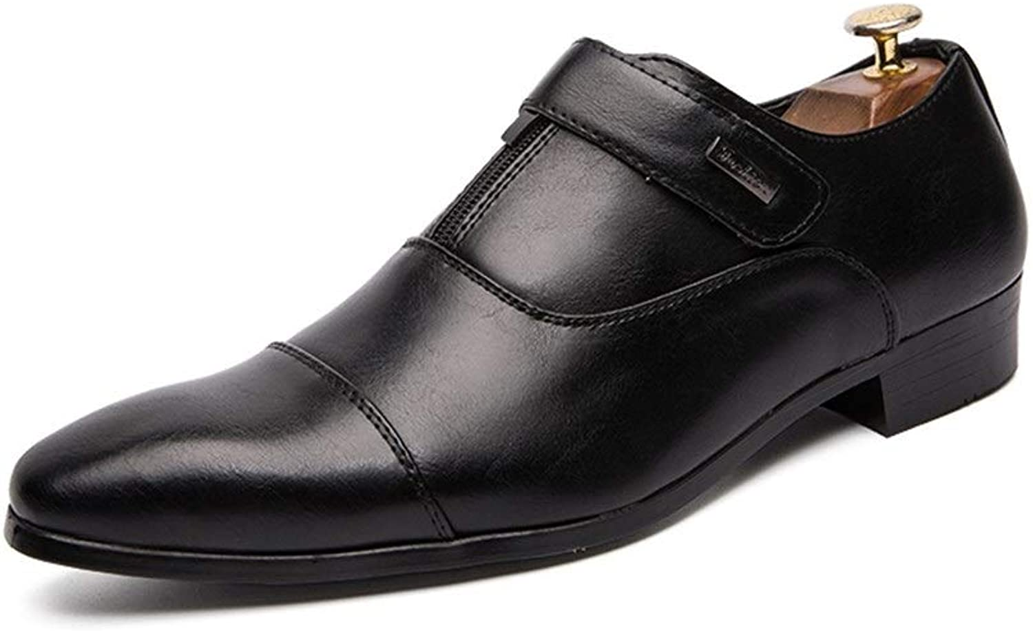 Easy Go Shopping Fashion Oxford for Men Casual shoes Comfortable OX Leather Slip On Style Simple Convenient Hook&Loop Round Toe classic Cricket shoes (color   Black, Size   8.5 UK)