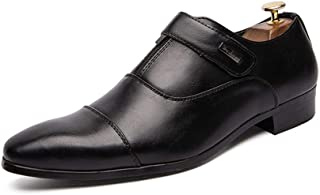 RongAi Chen Fashion Oxford for Men Casual Shoes Comfortable OX Leather Slip On Style Simple Convenient Hook&Loop Round Toe (Color : Black, Size : 7.5 UK)