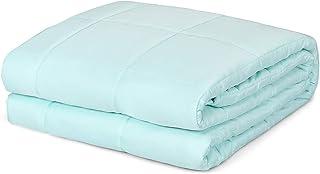 COSTWAY Gewichtsdecke kühl, Therapiedecke aus Baumwolle, Schwere Decke Anti Stress, Beschwerte Decke, Gewichtete Decke, Weighted Blanket für Erwachsene und Kinder, grün 152 x 203 cm/9,1 kg