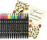 15 Coloring Markers For Adults + 24 Page Coloring Book | Japanese Markers Dual Tip Brush Marker Pens...