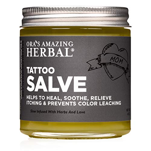 Tattoo Salve, Tattoo Aftercare, Natural Tattoo Aftercare Treatment Salve, No Paraben, No Lanolin, Natural Tattoo Care Ointment, Tattoo Lotion, Cream, Made in The USA, Ora's Amazing Herbal