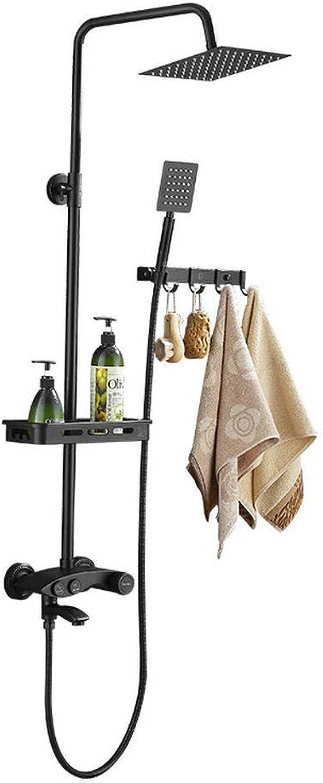 Bath Shower Systems Duschwannenarmaturen Duschset Messing Booster Duscharmatur Bad kann schwarz angehoben und abgesenkt werden