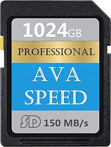 Tarjeta de memoria SD profesional de 1024 GB, clase 10, SDXC de alta velocidad hasta 150 MB/s para cámaras réflex digitales, cámaras HD y cámaras 3D (1024 GB)