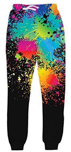 uideazone Unisex 3D Printed Graphric Sport Jogging-Hosen-beiläufige Jogginghose Fashion Party Festival Hosen, Colorful Splash-2, M