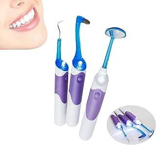 基本歯科機器 LEDランプ 歯鏡+プラーク除去+歯肉消しゴム3枚/家庭内口腔歯清掃キット