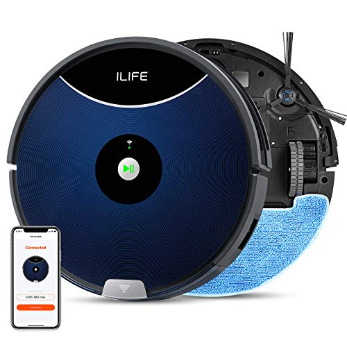 ILIFE A80 Max Mopping Robot Vacuum, 2-in-1 Robot Vacuum and Mop,2000Pa Max Suction,Wi-Fi Connected,Cellular Dustbin,2-in-1 Roller Brush,Self-Charging,Ideal for Hard Floors to Medium-Pile Carpets.