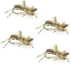 Fat Albert Foam Body High Visibility Grasshopper Dry Fly Fishing Fly - 4 Flies - Hook Size 10 - Hopper Dropper Indicator Fly