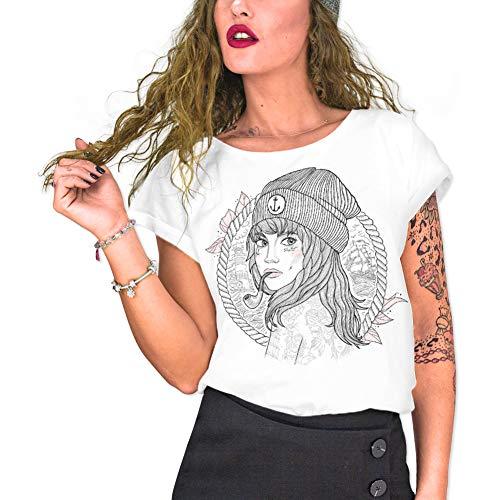 VIENTO Woman Captain Camiseta para Mujer (Blanco, Medium)