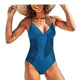 Berimaterry Bikinis Mujer 2021 Push up con Relleno Tejer con Malla Retro Cintura Alta Conjunto de Traje de Baño Bohemio Bañadores con Relleno Sujetador Brasileños Cuello en V Profundovikinis