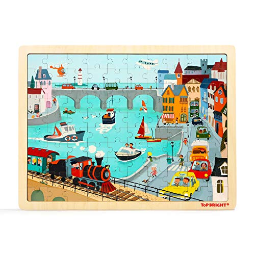 100 Pieza del Jigsaws Puzzles de Madera, Puzzle Urban Toddler para Niños y Niñas de Edades 3, 4 y 5