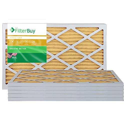 FilterBuy 16x20x1 MERV 11 Pleated AC Furnace Air Filter, (Pack of 6 Filters), 16x20x1 – Gold