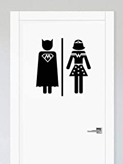Edvoynlm Men Women Toilet Sign, Restrooms Sign, Vinyl Sticker Decal Wall Art, Superhero Decal, Bathroom Sign, Toilet Decal, Door Sticker, Bathroom Decal (10'' x 10'', Set of 2)