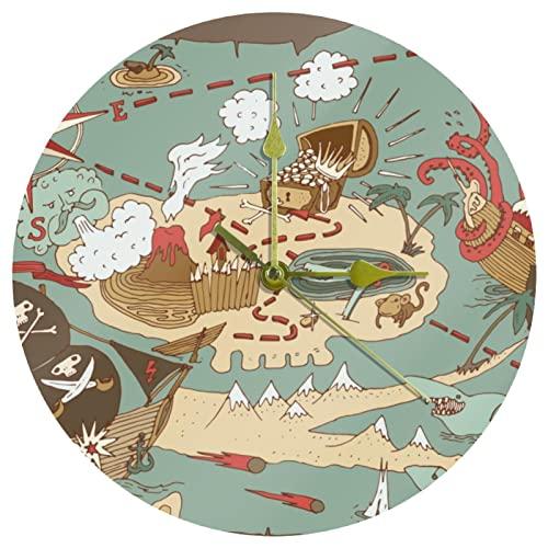 Yoliveya Reloj de pared redondo Silent Island Treasure Pirate Map decorativo sin garrapatas reloj silencioso para regalo en casa, oficina, cocina, guardería, sala de estar, dormitorio, 25 cm