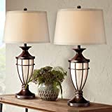 Mission Cage Table Lamps Set of 2 with Nightlight Lantern Brushed Iron Brown Beige Fabric Shade for Living Room Bedroom House Bedside Nightstand Home Office Entryway Family - John Timberland