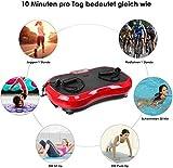MVPower Fitness Ultraflache Vibrationsplatte mit Leisem Motor | LCD Display | 120 Level | Inkl. Fernbedienung, Trainingsbänder,belastbar bis 180 kg (Schwarz-Rot)